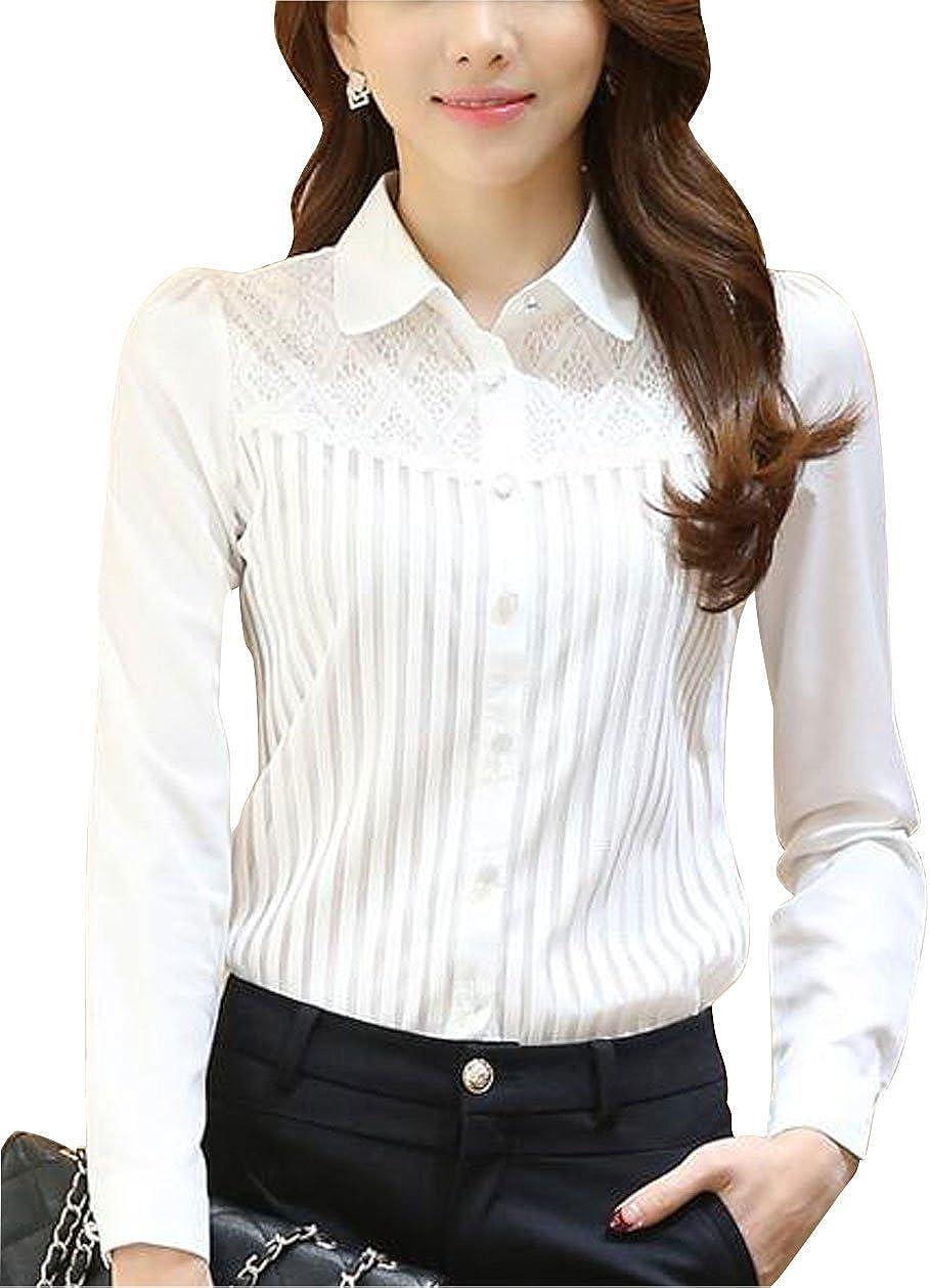 DkaoE Women Chiffon Lace Button Down Blouse Long Sleeve Shirt with Stretch