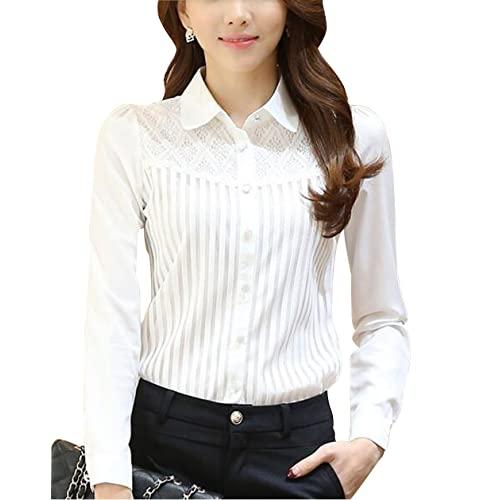 16c1f0134ff8fd DPO Women s Vintage Collared Pleated Button Down Shirt Long Sleeve Lace  Stretchy Blouse