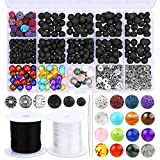 610 Pcs Lava Beads Kit, Lava Beads for Essential Oils Lava Stone Beads Rock Bulk Black 8 mm 7 Color Chakra Beads 6 Style Spacers Beads 2 Elastic String 2 Needle for Bracelet Necklace Jewelry Making