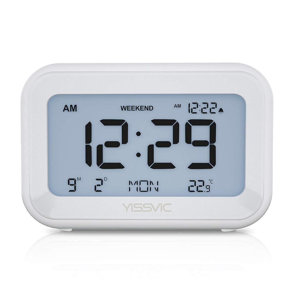 ハグ昇進粒YISSVIC 置き時計 デジタル時計 目覚まし時計 トラベルクロック アラーム スヌーズ機能 日付/曜日/温度表示 週末モード 電池式 LCD バックライト 音量調整可能 大音量 シンプル 旅行/出張などに