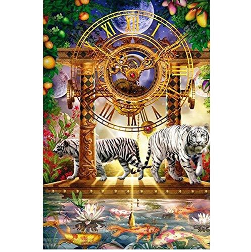 Plein Diy Diamant-schilderset, wandklok, tijger, wit, kruissteek, diamant, borduurwerk, strass, mozaïek, decoratie thuis 30x40