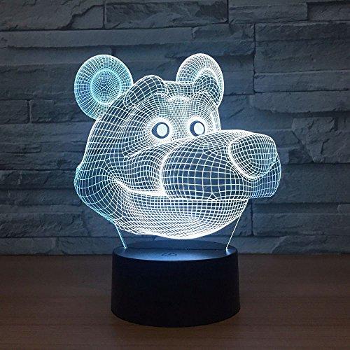 Nette bärenförmige Lampenbabynachtlichtkinder schlafen helle Farbänderungstabellenlampe