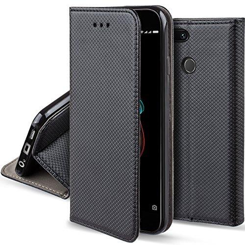 Moozy Funda para Xiaomi Mi A1, Xiaomi Mi 5X, Negra - Flip Cover Smart Magnética con Soporte y Cartera para Tarjetas