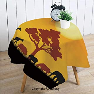 Safari Decor Square Polyester Tablecloth,Silhouette of Rhinos Elephants Zebras Grassland and A Tree with Sun The Back,Dining Room Kitchen Square Table Cover,70W X 70L inches,Orange Chocolate Black