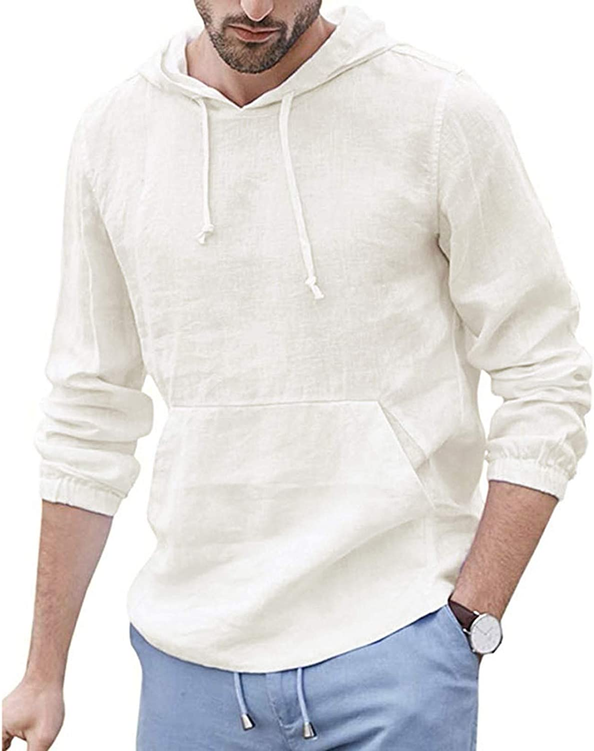 HONGJ Cotton Linen Hoodies for Mens, Fall Long Sleeve Hooded Shirts Lightweight Loose Casual Pullover Tops with Pocket