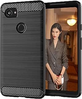 EGALO Google Pixel 2 XL Case,Slim Thin [Anti-Fingerprint] TPU Shock Absorption Carbon Fiber Pattern Flexible Soft Skin Silicone Protective Case Cover for Google Pixel 2 XL (Black)
