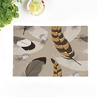 rouihot Set of 6 Placemats Brown Air Pheasant Feathers Bird Flight Fluff Fuzz Nature 12.5x17 Inch Non-Slip Washable Place Mats for Dinner Parties Decor Kitchen Table
