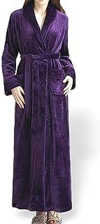 [moonfarm] ロングコート風 裾長 バスローブ 男女兼用 ロング 丈 厚手 ガウン パジャマ 部屋着 (紫, M)