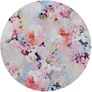 マウスパッド 花柄 丸型 個性的 おしゃれ 柔軟 かわいい ゴム製裏面 ゲーミングマウスパッド PC ノートパソコン オフィス用 円形 マウスマット 滑り止め 耐久性が良い おもしろい バラの花 水彩 (ピンクの花 明るい)