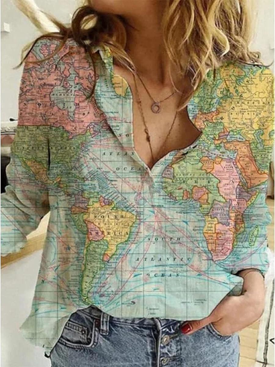 HOLATOK Women's Retro World Map Geometric Pattern Lapel Casual Long Sleeve Button Down Shirt Loose Top Blouse