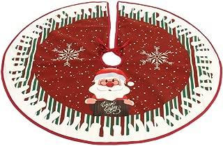 Surfmalleu Falda del Árbol de Navidad de Santa Claus Tejido Cubierta de la Base de Árbol Decoración de Navidad Estera para Fiesta Navideñas para Hogar 90cm (Santa Claus)