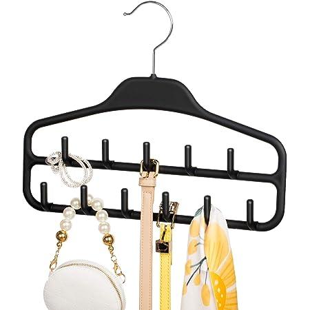 Tank Tops Ties Scarves ROSOS Belt Hanger Holder Organizer 2 Pack Non Slip Belt Rack with 360 Degree Swivel Hooks Masks and More Black Sturdy Tie Hanger for Closets Storage Ideal for Belts