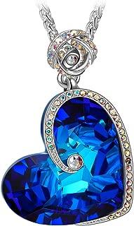Susan Y Collar de Corazón de Cristal Azul con Extensión, Elegante Joyero