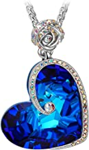 J.NINA ✦Aphrodite✦ Women Christmas Necklace Gifts Rose Heart Necklace with Bermuda Blue Crystals from Swarovski White-Gold Plated Valentines Jewelry Gifts for Her