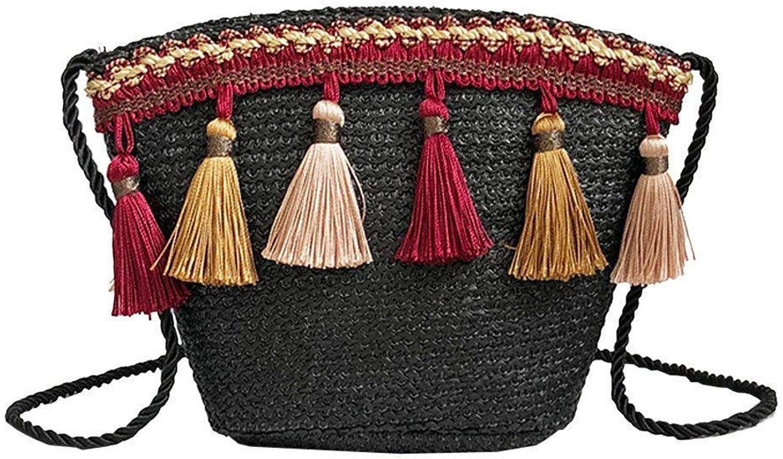 Bloomerang Straw Bag Vintage Women Panelled Weaving Tassel Shoulder Bag Messenger Crossbody Handbag Beach Bag color Black Size