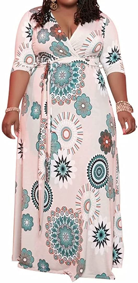 IyMoo Women's Plus Size V Neck 3/4 Sleeve Floral Printed Party Loose Long Maxi Dress with Belt