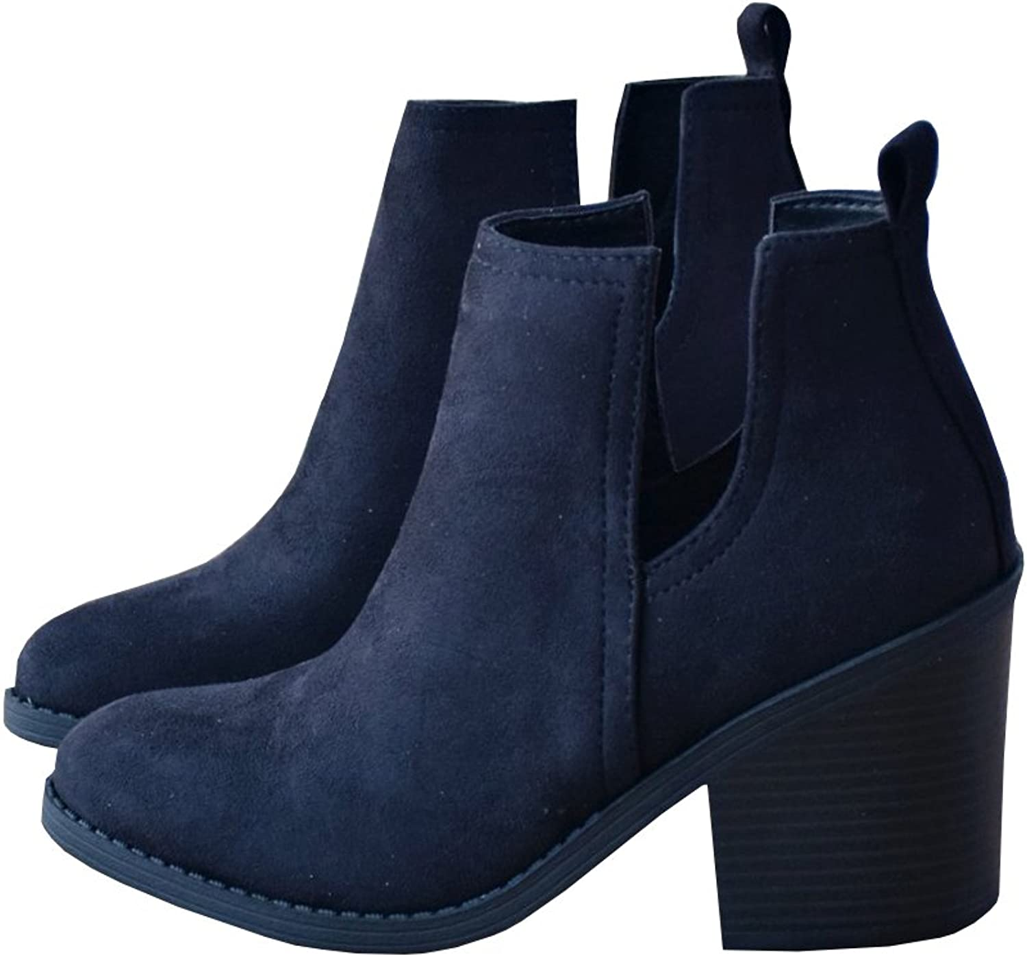Nulibenna Womens Casual Pointed Toe Slip On Side Cut Out Low Heel Western Ankle Booties
