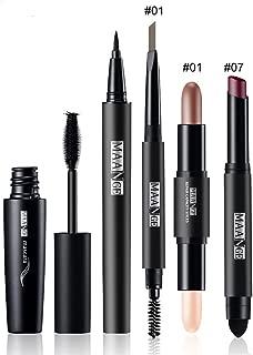 FantasyDay 5PCS Makeup Gift Set Makeup Bundle Beauty Essentials Starter Makeup Kit Including Mascara, Eyeliner Pen, Eyebrow Pencil, Lipstick and Highlighter Makeup Sticks Makeup Kit #1