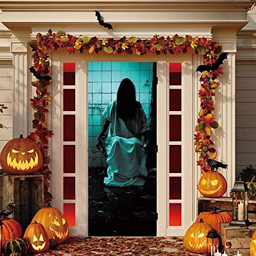 Tür-Abziehbilder Für Diy Türaufkleber Pvc Ghosts Waschraum Horror Aufkleber Scary Halloween Aufkleber Bar Wohnheim Schlafzimmer Fenster Tür Dekoration Yjlmt 3D