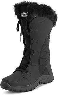 أحذية POLAR نسائية مبطنة من الفرو الصناعي ونعل مطاطي متين للمطر في الثلوج في الهواء الطلق - نايلون أسود طويل - EU38/US7 - ...