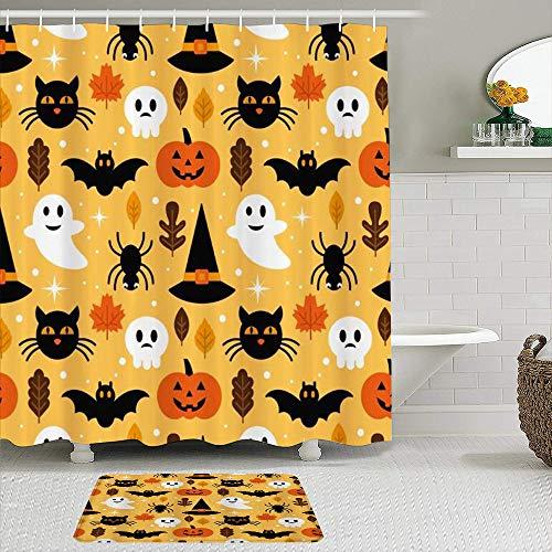 LISNIANY Conjunto De Ducha Cortina Alfombra,Calabaza Linterna Halloween Magia Sombrero Fantasma Impreso,Uso en baño, Hotel