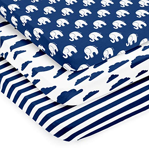 Pack n Play Sheets – Premium Pack and Play Sheet 3 Pack – 100% Super Soft Jersey Knit Cotton Playard Mattress Portable Playpen Fitted Play Yard Mini Crib Sheet for Boy (24 x 38 x 5)