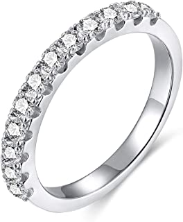 EAMTI 2mm 925 Sterling Silver Wedding Band Cubic Zirconia...