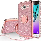 SOGA Cover Compatible for Samsung Galaxy Sky/Galaxy Sol/Amp Prime/Galaxy Express Prime/Galaxy J3 2016 Case Rhinestone Slim TPU Bumper Sparkling Glitter Bling Diamond Cover with Ring Stand - Rose Gold