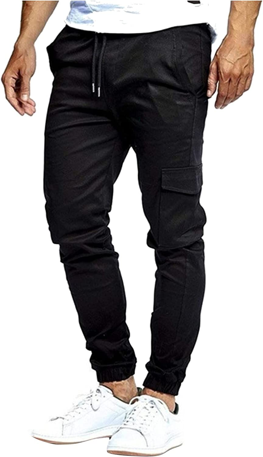 FIRERO Mens Drawstring Pants Straight Fit Casual Pants Outdoor Work Hiking Trousers with Pockets