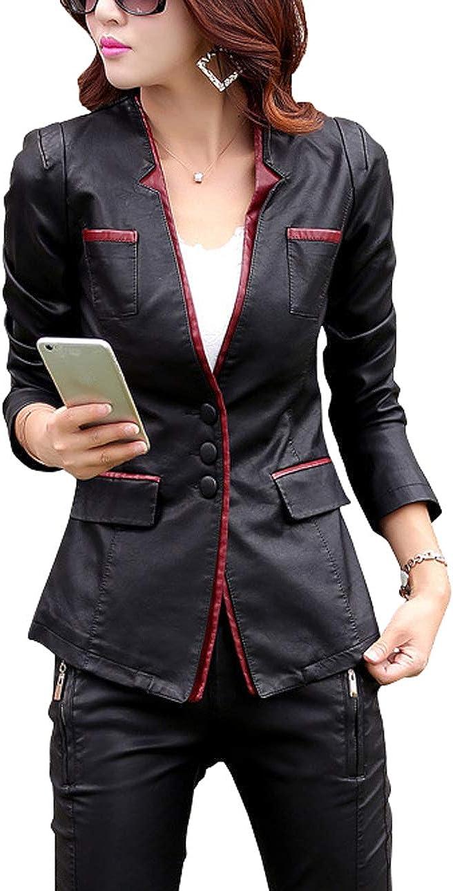 chouyatou Women's Slim Fit V Neck Piping Faux Leather Suit Blazer Jacket