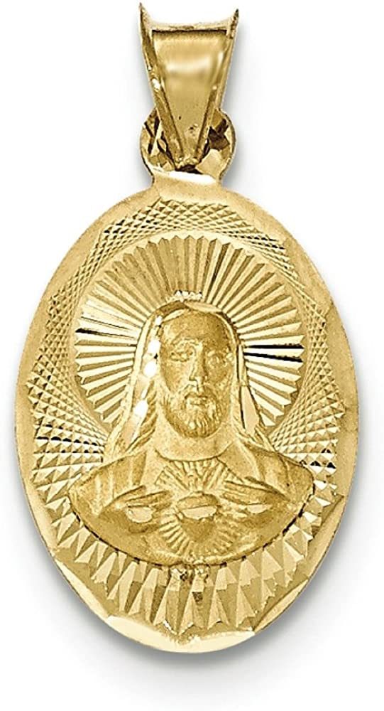 14K Yellow Gold Sacred Heart of Jesus Oval Medal Charm Pendant