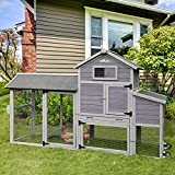 Aivituvin 80in Chicken Coop Mobile Hen House Outdoor Wooden Poultry Cage Multi-Level W/Wheels,Nesting Box, Run, Wire Fence,4 Access Areas