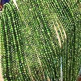 JSJJAUJ Colgantes Piedra Natural Diopside facetó un Cristal Redondo de Cristal sin escocés. Bricolaje Accesorios de Pulsera Collars (Color : Diopside, Item Diameter : 2mm One Strand)
