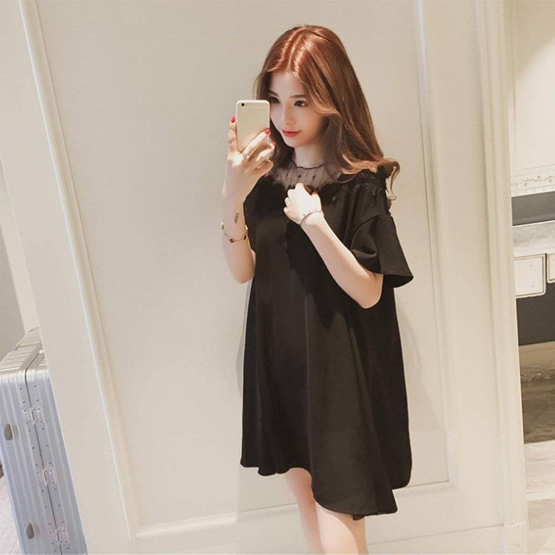 四回いちゃつく湿気の多いファッションプラスサイズメッシュパッチワークサマーレディドレスエレガントな半袖女性ドレスクラシックOネックドレス日常着-ブラックXL