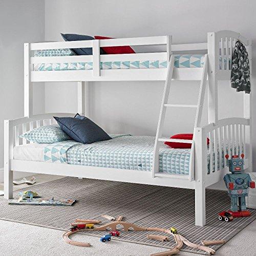 Happy Beds American Triple Sleeper Bunk Bed Modern Wooden Kids Bedroom Furniture