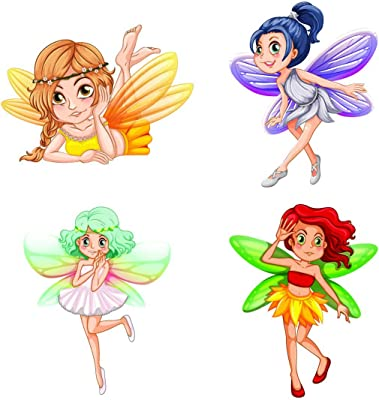 100yellow® Fairy Theme PVC Vinyl Switch Board Sticker for Light Switches- Set of 4(for Kids Room)