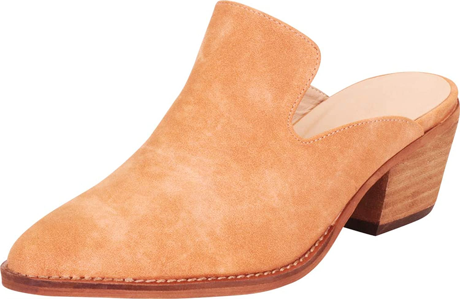 Cambridge Select Women's Pointed Toe Slip-On Chunky Stacked Block Mid Heel Mule