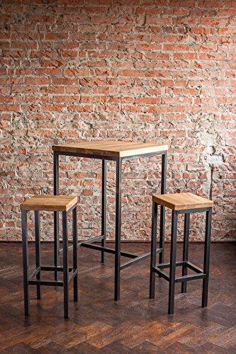 Stehtisch Bartisch Tresen Bar IndustrieDesign Loft (ein Set: 66er Tisch +2 Hocker, Eiche natur) - 4