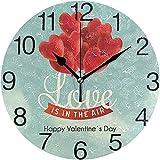 Zseeda 1 Reloj de Pared Redondo de diseño de corazón de San Valentín, Pintura al óleo silenciosa sin tictac Decorativa para Arte de Reloj Escolar de Oficina en casa