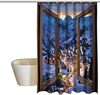 Country Shower Curtain with Hooks Nature Decor Wooden Primitive Windows Cityscape European Mountain Houses Village Cottages Farmhouse Panorama View non toxic shower curtain W36