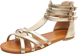 JJLIKER Womens Snake Leopard Thong Strappy Flat Sandals Ankle Buckle Strap with Zipper Cirss Cross Gladiator Shoes