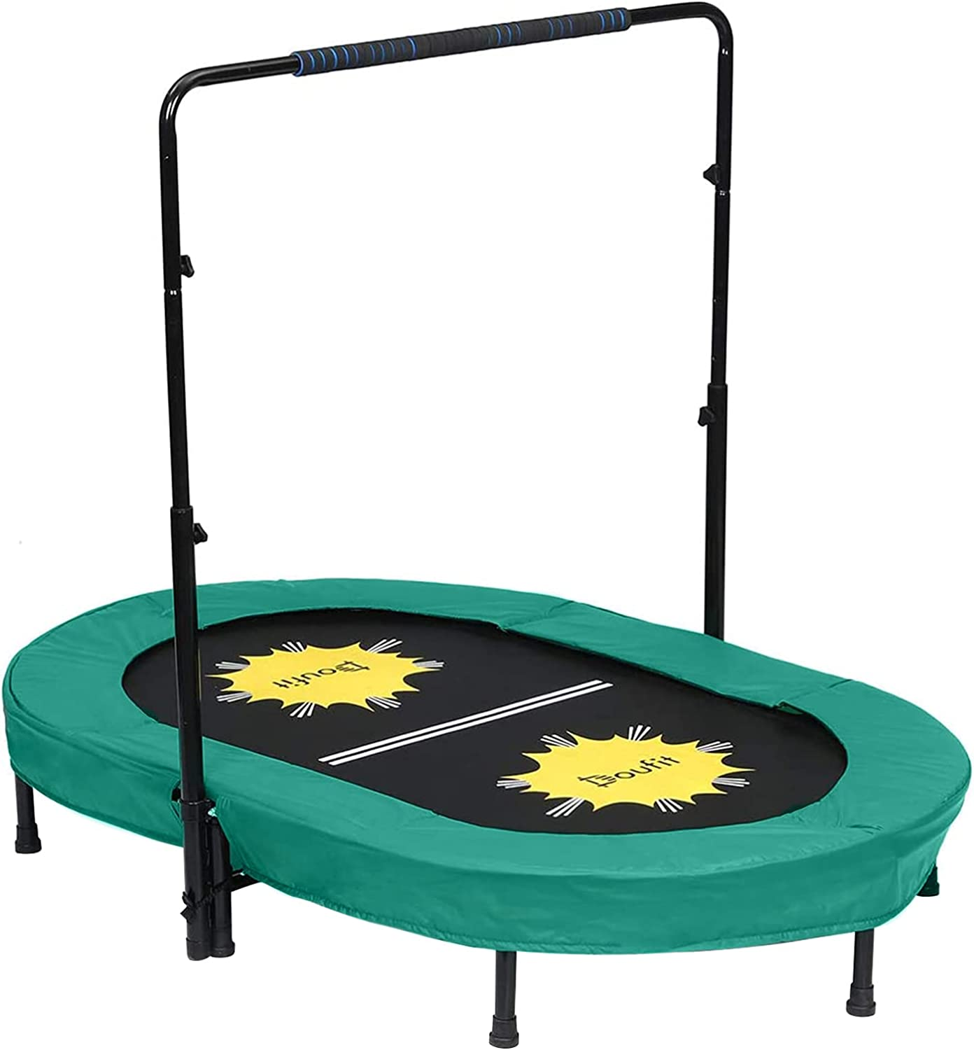 Trampoline for 2 Kids and Adults with Handle 交換無料 Bar Adjustable ついに入荷 Dou