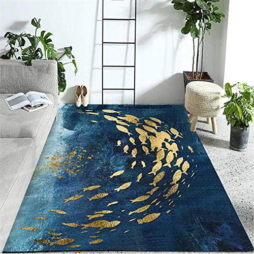 alfombra terraza exterior alfombras lavables salon Decoración de la habitación de los niños de la sala de estar de la alfombra del patrón del oro del fondo azul alfombra salon 160X230CM 5ft 3'X7ft 6.6