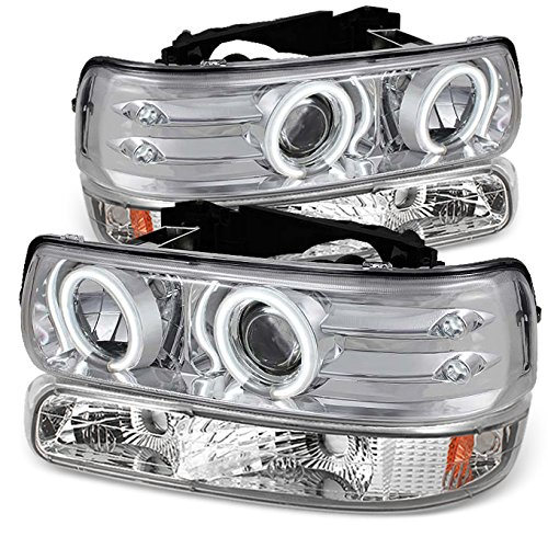 For Chrome 99-02 Silverado | 00-06 Suburban/Tahoe | CCFL Halo Projector LED Headlight+ Bumper Signal Lights