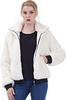 Amandina Luxe Women's Faux Fur Full-Zip ShortCoat Ribbed Soft Thick Bomber Jacket (Large, Ivory)
