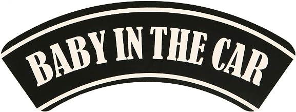 BABY IN CAR シール ステッカー 車 防水 耐水 耐候 ラミネート 安全運転 アーチ形 7.5㎝×20㎝ 「BABY IN THE CAR」 赤ちゃんが乗っています 子供 シンプル かわいい デザイン 事故防止 (ブラック, 7....