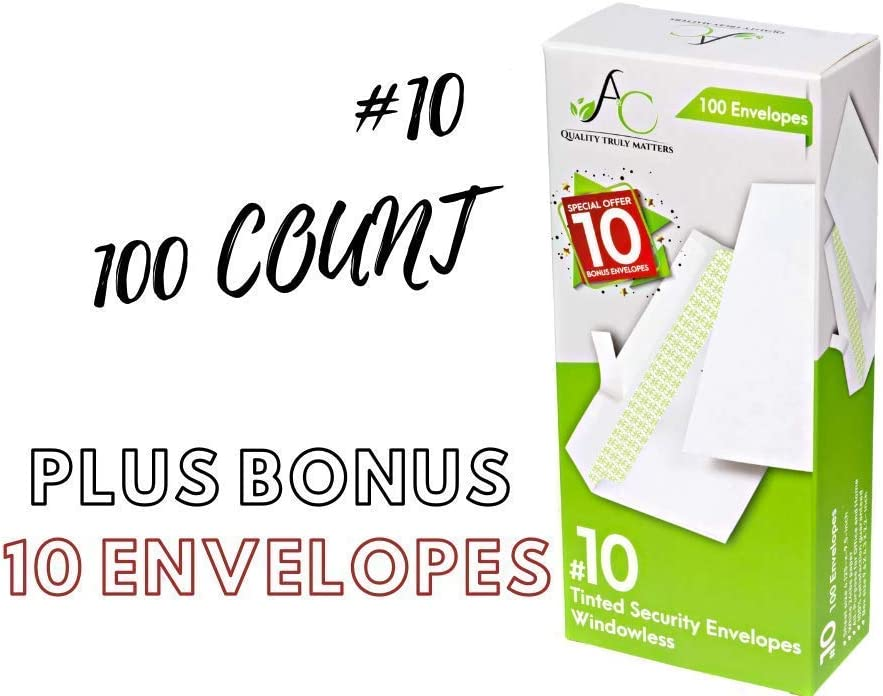 100 Count Long-awaited #10 Security Tinted Envelopes Windowless wit Self-Seal Limited Special Price