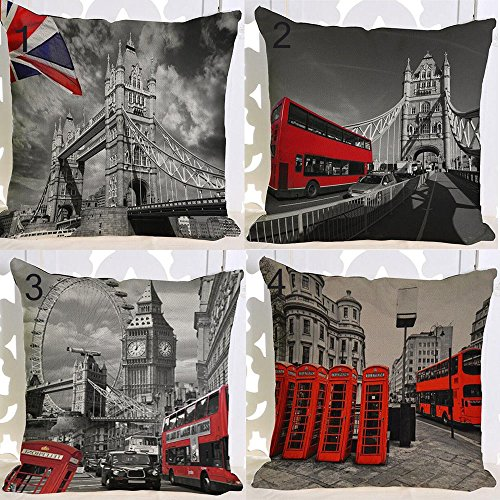 Retro Regno Unito Londra Red Phone Booth London Eye Tower Bridge cotone lino piazza Throw Waist federa cuscino decorativo divano 45,7 x 45,7 cm (10)
