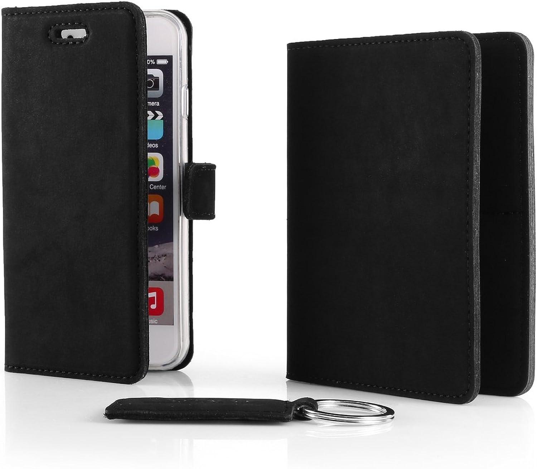 SURAZO Leder Geschenkset Handy Schutzhülle, Geldbörse, Schlüsselring - Farbe Schwarz Vintage Kollektion für Huawei P9 Lite 2016 (5,20 Zoll) B07CWTVLV7
