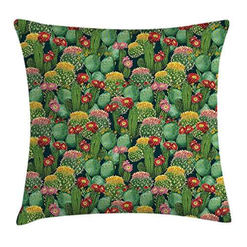 FAFANI Nature Decor Throw Pillow Cushion Cover, Garden Flowers Cactus Texas Desert Botanic Various Plants with Spikes Pattern, Decorative Square Accent Pillow Case, 18 X 18 inches, Multicolor